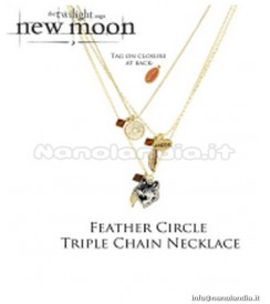 AP Twilight New Moon - Triple Chain Necklace Feather Circle